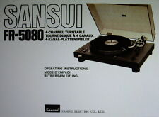 SANSUI FR-5080 4 CHANNEL TURNTABLE OPERATING INSTRUCTIONS INC CONN DIAGS ENGLISH