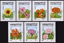 CAMBODGE Kampuchea N°419/425** Fleurs, rose.... 1983, CAMBODIA Flowers  MNH