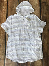 Kenneth Cole Reaction Linen Hooded Shirt White Multi Stripe Mens Size XL New
