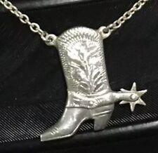 """Cowboy Boot Moving Spur Necklace 17"""" Vintage Estate Sterling Silver Hand Carved"""
