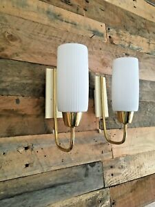 PAIR OF MID CENTURY 1960'S DESIGNER BRASS WALL LAMP LIGHT SCONCES DANISH SCANDI