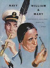 NOS New US Navy Vs William & Mary Football Game Program 9/26/64 Roger Staubach