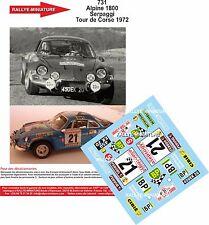 DECALS 1/18 REF 731 ALPINE RENAULT A110 SERPAGGI TOUR DE CORSE 1972 RALLYE RALLY