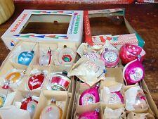 ANtique 2 boxes Vintage 1940-50's Hand Blown&painted  Christmas balls Ornaments