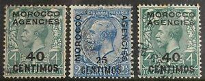 Morocco Agencies – 1914-25 Spanish Curr. SG 134/147/148  (3) VF – SU (R8)
