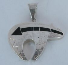 HUGE Native American, Navajo Sterling, Onyx inlay Bear pendant by Ray Tracey