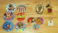 VTG Disney Collectable Lot of 12 Buttons Pins & Keychains MICKEY MINNIE RAFIKI