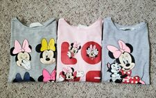 NWOT H&M Girls Lot of 3 Disney Minnie Mouse Pink & Gray Long Sleeve Shirts 8-10