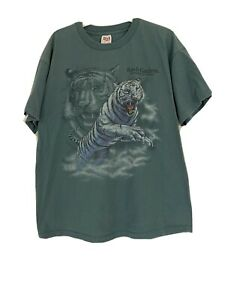 Vintage White Tiger Busch Gardens Extinction Is Forever T Shirt • XL • Anvil