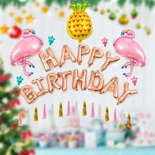 Happy Birthday Pink Flamingo Balloons Bunting Banner Set Party Decoration  D1