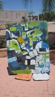 ORIGINAL MODERN ABSTRACT ART CONTEMPORARY LARGE PAINTING Acrylic Cris Qualiana