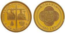 100 LEI 1999 POPE JOHN PAUL II Visit in Romania Pattern Essai Trial Strike coin
