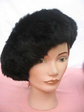 "#10A unisex fit size 22.5""INCHES jet black muskrat FEDORA beret FUR HAT"