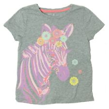 GapKids Girls Size XS 4-5Y Gray Pink Zebra T-Shirt Top