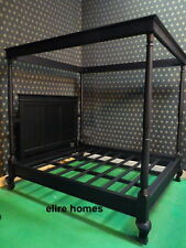 UK STOCK Super King size 6' Matt BLACK Four Poster Gothic handmade Mahogany bed
