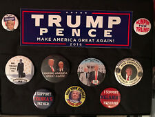 Donald Trump Mike Pence Campaign Buttons Pinbacks and sticker lot of 10 items