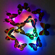 Led Night Butterfly Sticker Light Home Room Desk Wall Decor Color Changing