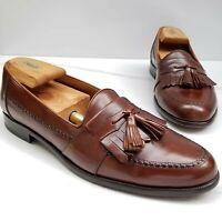 Peter Huber Brown Leather Kilt Tassel Loafers Slip On Mens Apron Toe Shoes 9.5