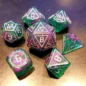 Digital Purple/Green 7 Dice Set RPG DnD Dungeons Dragons Pathfinder d20 AD&D
