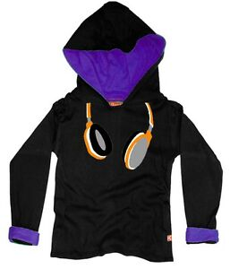 NEW KIDS / BOYS / GIRLS DESIGNER CLOTHES: URBAN STREET HEADPHONE HOODY (Black)