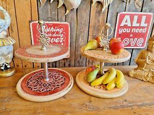 Edle Etagere 40x35cm Suar Holz Alu Muffin Kuchen Obst Deko Esstisch Gebäck
