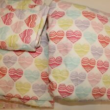 Circo Twin Flannel Multi-Color Hearts 3 Pc Sheet Set Flat Fitted Pillowcase