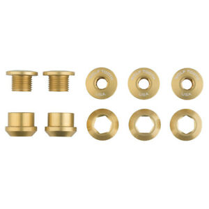 Alloy Chainring Bolts - Wolf Tooth 1x 6mm Chainring Bolt: Gold, Set of 5, Dual
