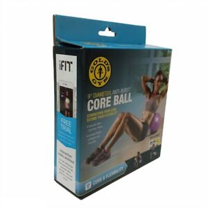 Golds Gym Anti-Burst Core Ball 9 Inches In Diameter Purple with Exercice Chart