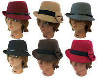 LADY FEDORA TRILBY WOOL FEDORA BUCKET WOMEN DRESS PARTY HAT CAP