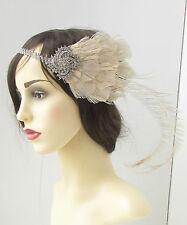 Crema plata pluma de pavo real diadema AÑOS 20 GENIAL Gatsby Flapper
