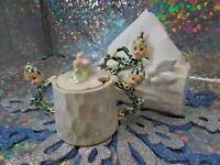 Vintage Lefton Esd? Christmas Pixie Elves On Logs Sugar Bowl & Napkin Holder
