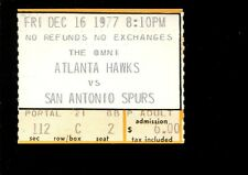 Basketball Ticket Atlanta Hawks 1977 San Antonio Spurs 12/16 George Gervin