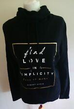"ATMOSPHERE Ladies Black Cotton Slogan ""Find Love""  Roll Neck Sweater Size 12 L3"