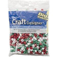 Pony Beads 9mm 720/Pkg-Opaque Xmas Red/White/Green 082676856518