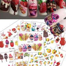 18Pcs Cake Ice Cream Fruit Nail DIY Sticker Water Transfer Tattoos Art Decal Kit