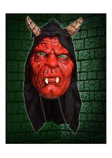 Hooded Devil With Horns Latex Horror Face Mask Halloween Fancy Dress P8504