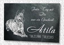 Grabstein Gedenktafel Grabplatte Tiergrabstein Gedenkplatte Schäferhund 22x16 cm