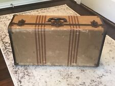 Vintage suitcase, antique luggage with tweed stripes and metal trim 1940's