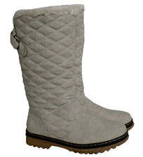 LADIES QUILTED TAUPE WINTER BOOT WITH OFF WHITE FLEECE COLLAR SIZE 6