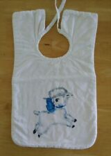 Vintage 1960's Washable Cloth Baby Toddler Bib with Lamb