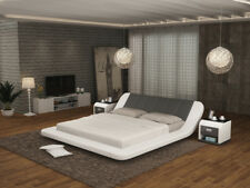 MY. Bed Polsterbett 140x200cm GRIS//BLANC Art-Cuir Lit Double Structure de lit Existante