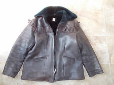$325 Uber Owatonna Minnesota Scout Bomber Leather Fringed Mens Jacket Med sku1