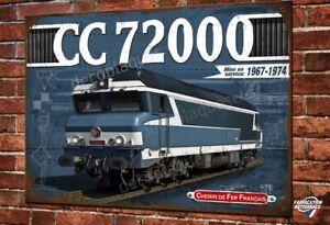 """Plaque métal déco 30x20cm Loco Diesel-élec CC 72000 """"nez cassés"""" Train SNCF"""