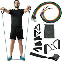 11Pcs Exercise Resistance Bands Tubes Set Fitness Training Yoga Workout Elastic
