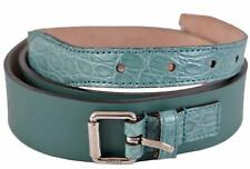 New Gucci Men's Teal Green Alligator and Leather Palladium Buckle Belt 36 90