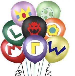 "16x 12"" COLOURED SUPER MARIO Balloons Latex Printed Birthday PARTY luigi"