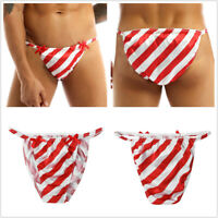 Christmas Sissy Striped Lingerie Bikini Underwear Shiny String Satin Men Panties