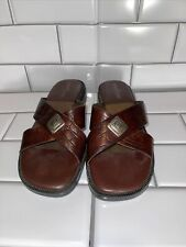 Womens Minnetonka Brown Leather Slip On Sandals/mules/ slip on shoes Size 6 New