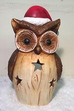 XL Hand Painted Ceramic Owl in Santa Hat Christmas Tea Light Candle Holder 6880