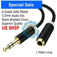 "3Ft. 3.5mm 1/8"" Stereo Audio Aux Headphone Cable Extension Cord Male to Female"